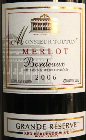 Monsieur Touton Merlot Bordeaux